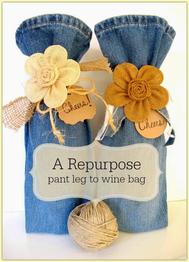 idea para envolver botellas con pantalón vaquero reciclado