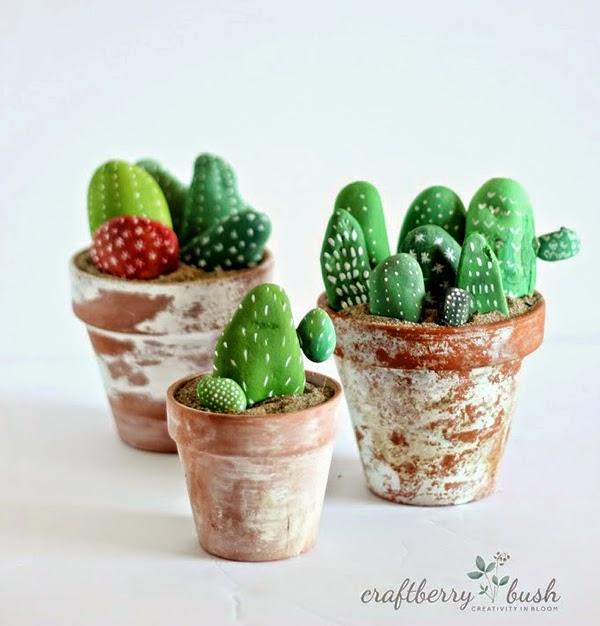 pintar y decorar piedras a mano: cactus