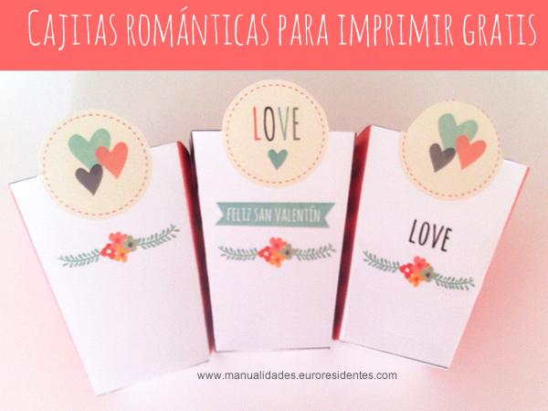 Cajas románticas para imprimir. Día de la amistad