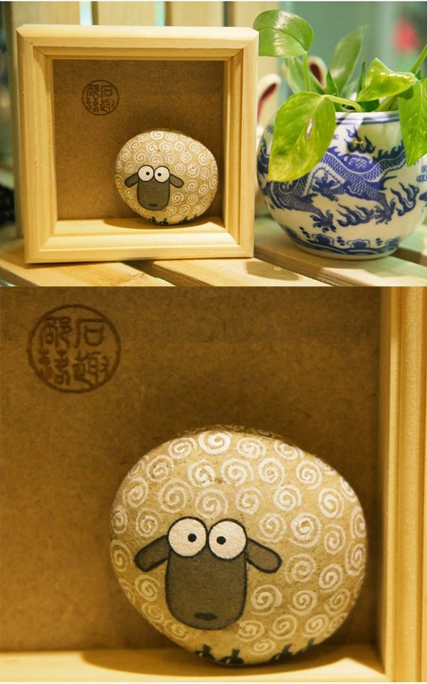 Pintar y decorar piedras a mano: piedras con forma de oveja