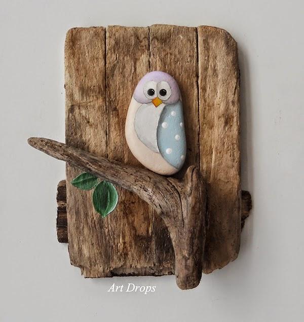 Pintar y decorar piedras a mano: pajarito
