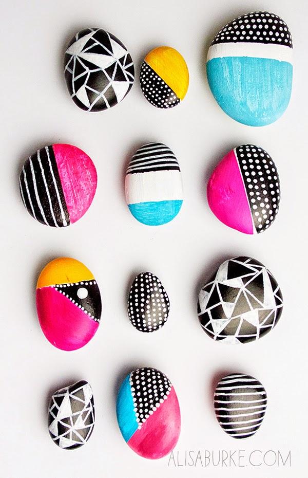 ideas para decorar y pintar piedras a mano