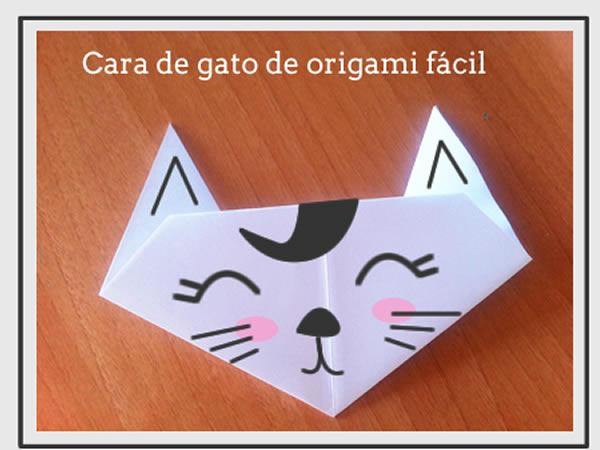 Papiroflexia gato, manualidades niños