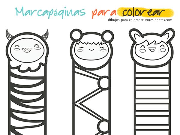 Marcapáginas para colorear - Manualidades