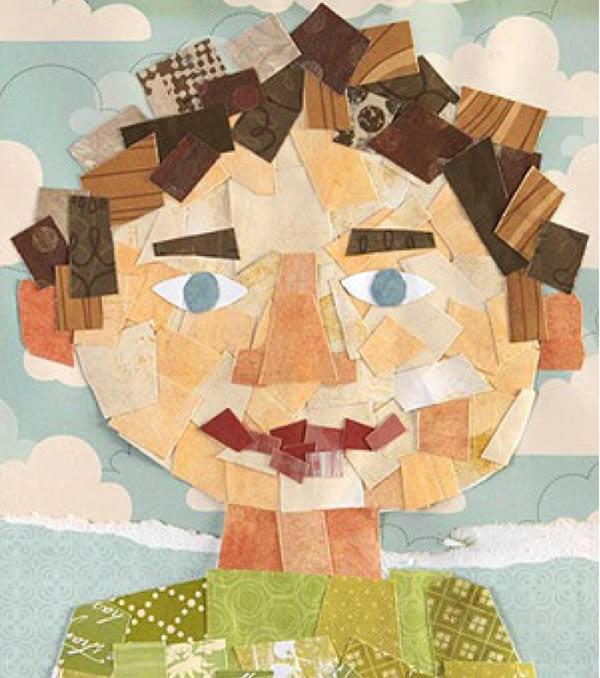 mosaico papeles retrato