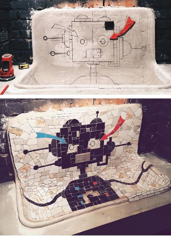 mosaico robot de cerámica diy