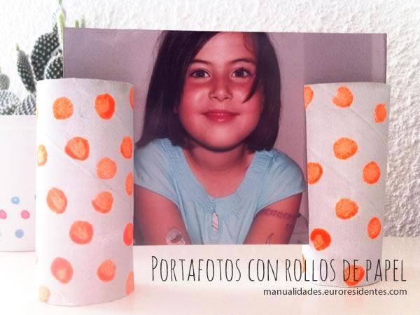 porta retratos con rollos de cartón. Manualidades niños
