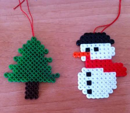 adornos de Navidad con hama beads