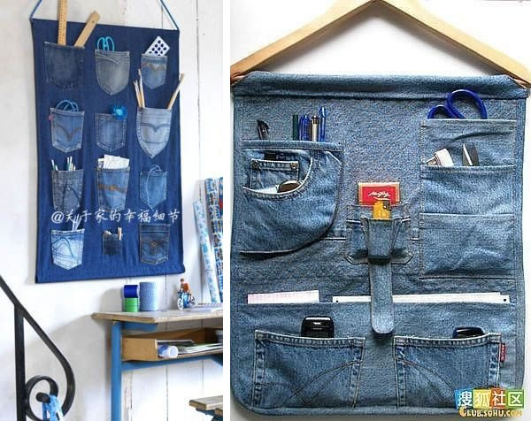 10 ideas creativas para reciclar tus vaqueros viejos - Colgador de tela con bolsillos ...