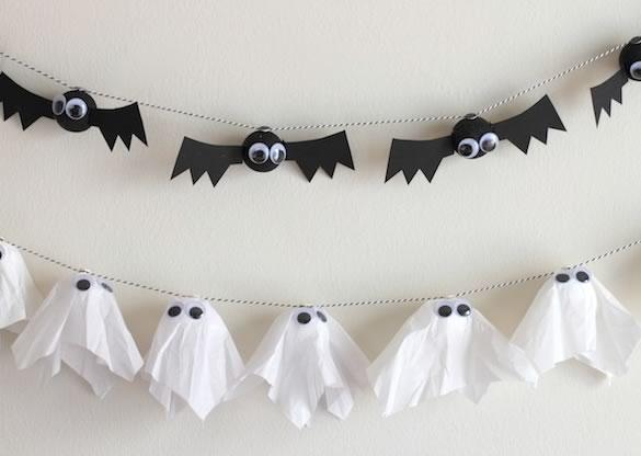 Decoración Halloween. Guirnalda fantasmas y murciélagos