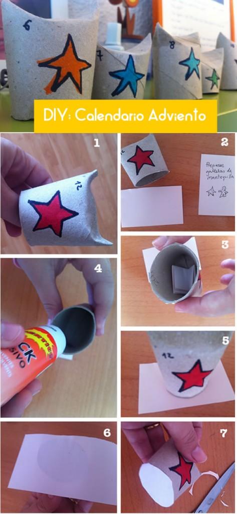 calendario de adviento con rollo papel reciclado DIy