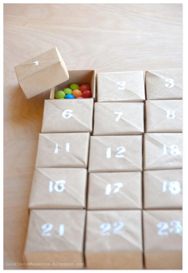 Calendario de adviento con cajitas papel DIY
