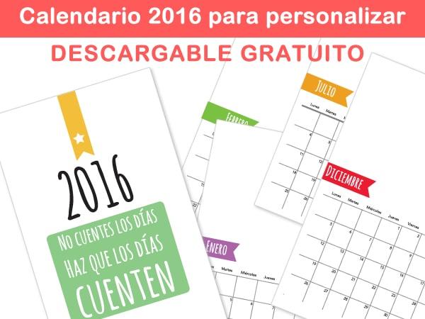 Calendario personalizado 2016 para imprimir - Manualidades