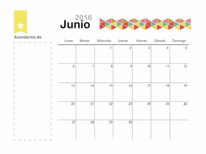 mes de junio 2016 para imprimir