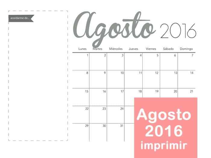 Mes de Agosto 2016 para imprimir - Manualidades
