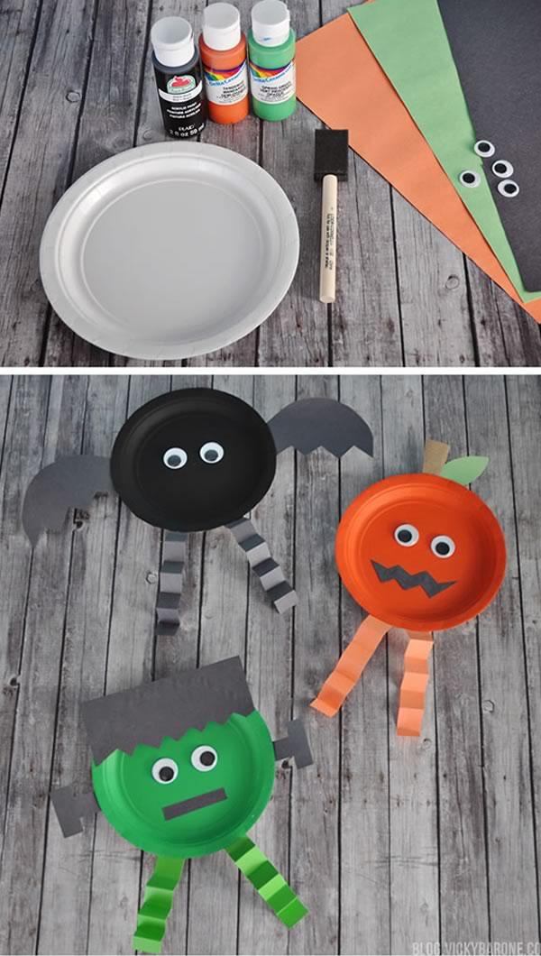 Halloween: manualidades niños con platos de papel