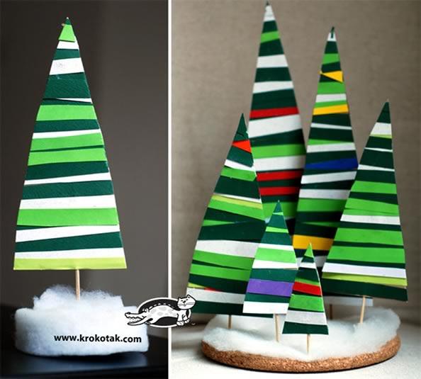 ideas para hacer árboles navideños con cartón