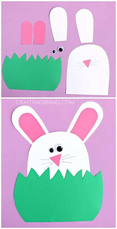 Manualidades de Pascua para niños: conejito de Pascua de cartulina