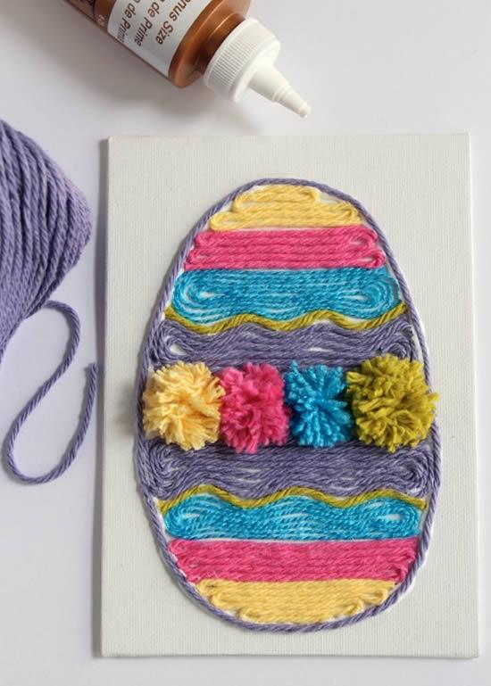 Manualidades de Pascua para niños: huevo decorado con lana