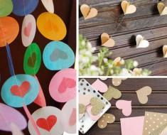 Cómo hacer guirnaldas de corazones