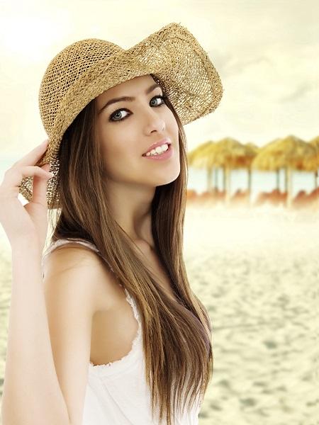 Chica guapa sombrero