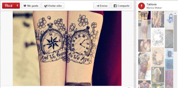 ideas para tatuajes parejas tiempo, brújula