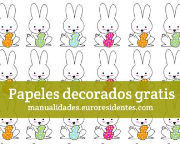 Papel decorado con conejitos de Pascua