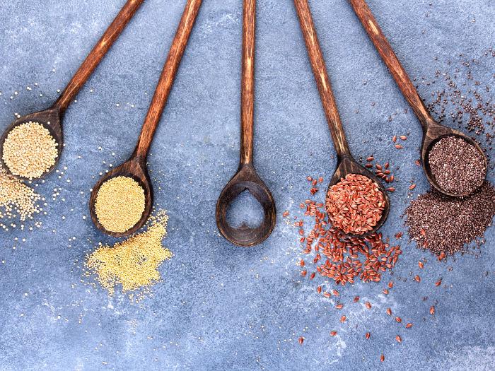 Alimentos para la salud, chía, lino, quinoa