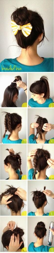 peinado fácil con trenzas y moño