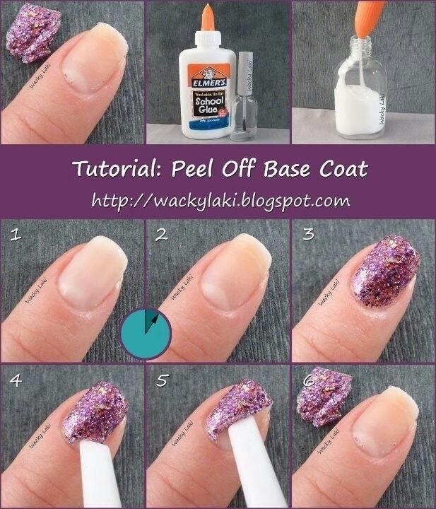 Uñas purpurina truco