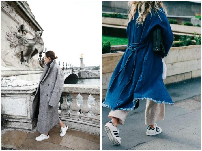 Outfit de zapatillas con abrigo largo