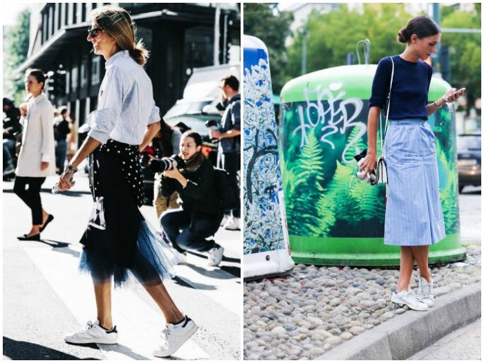 outfit de zapatillas con falda midi