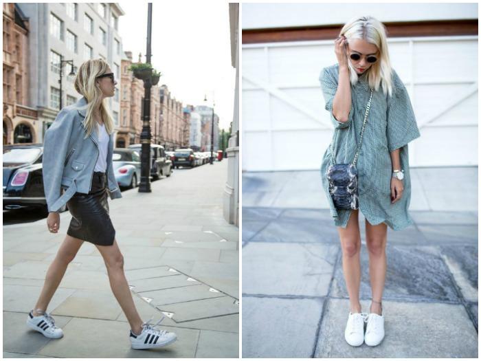Outfits con zapatillas de deporte y falda o vestido