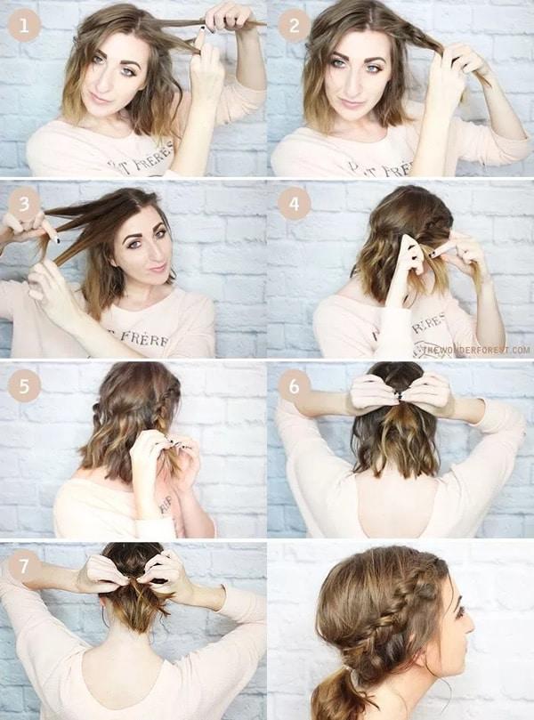 Peinados pelo corto: trenza media melena