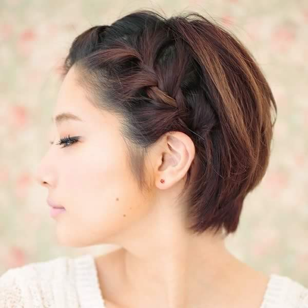 peinados pelo corto trenza lado