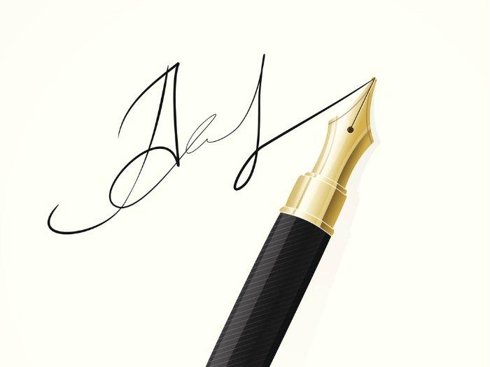 Análisis de firma y rúbrica: rúbrica en la primera y última letra del nombre