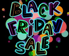 Colorful Black Friday sale poster with hand lettering