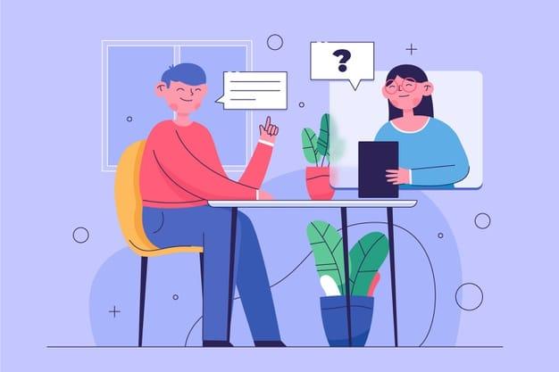 Personas haciendo una entrevista de trabajo online