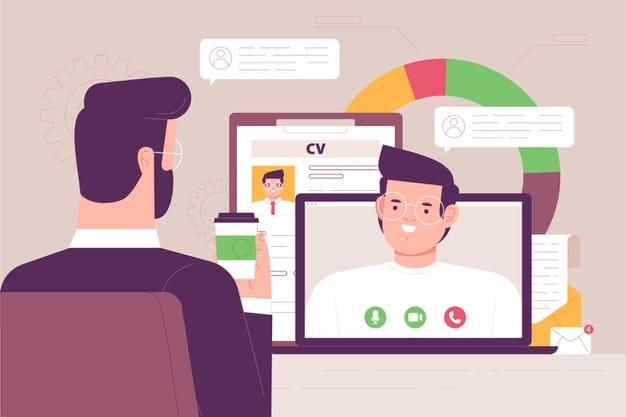 Personas realizando una entrevista de trabajo online
