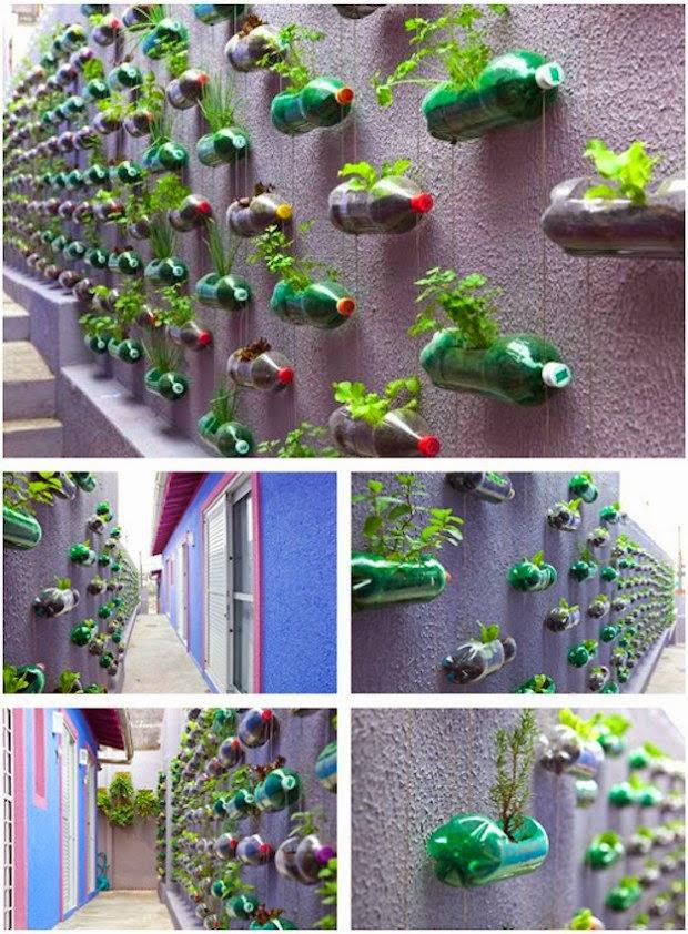 botellas de plstico colgando de cuerdas en una pared