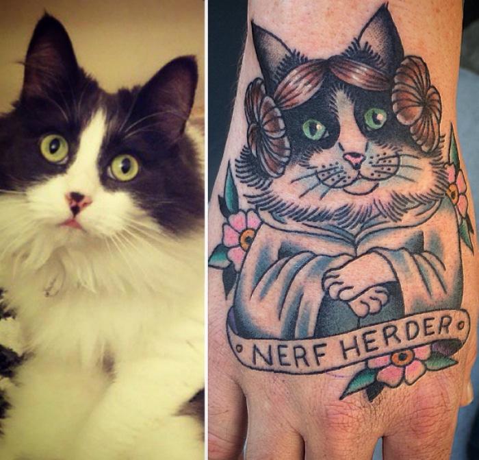 Leia gato tatuaje