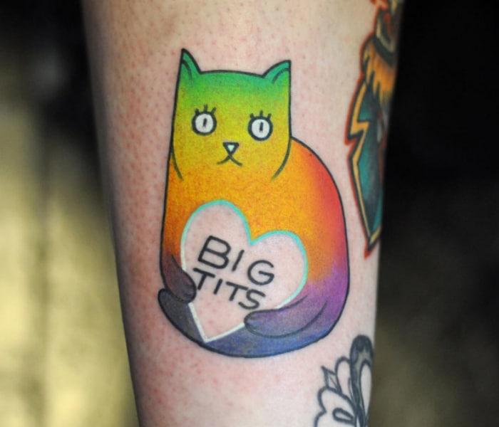 Tatuaje gato color
