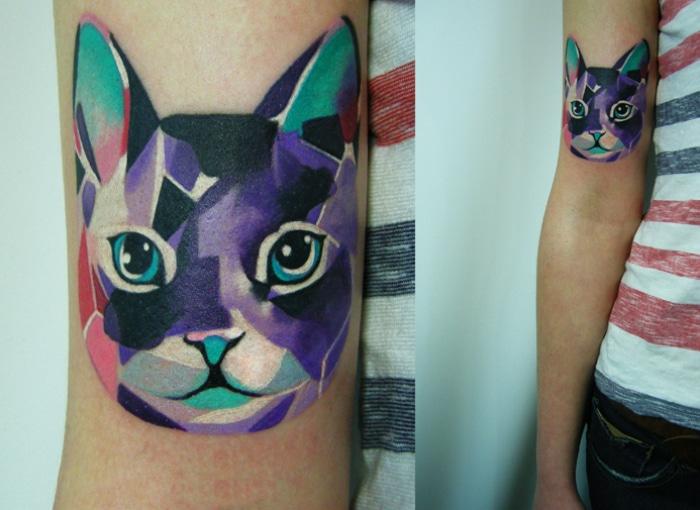 Tatuaje gato acuarelas
