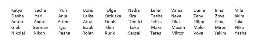 Nombres rusos para mascotas