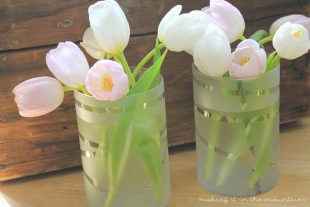 vasos con vinilo tipo ucfrostud diy ideales para decorar con flores