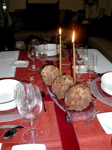 Adornar mesa de Navidad
