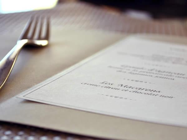 La carta del restaurante