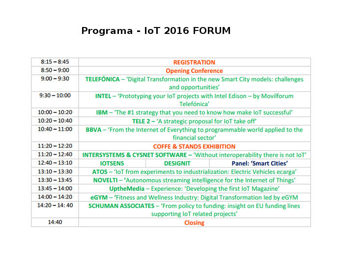 Programa del IoT 2016 Forum Madrid