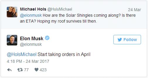 Tweet de Elon Musk sobre los tejados solares de Tesla