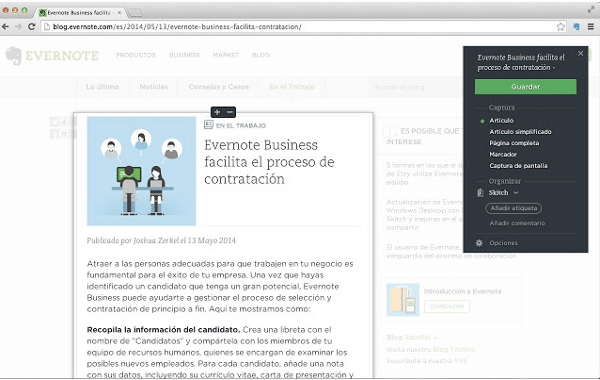 Extensión para Chrome: Evernote Web Clipper